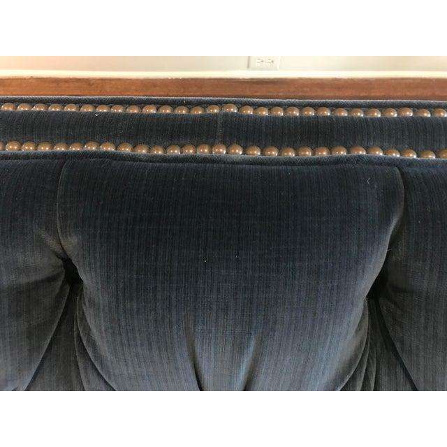 2010s Kravet Malibu Blue Velvet Sofa For Sale - Image 5 of 7