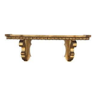 20th Century Hollywood Regency Style Gold Gilt Wall Shelf For Sale