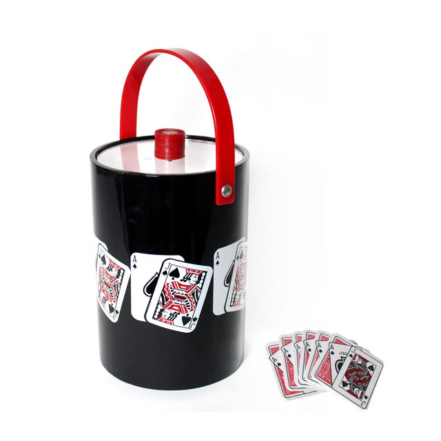 Vintage Playing Card Ice Bucket & Coaster Set of 7 For Sale In Los Angeles - Image 6 of 6