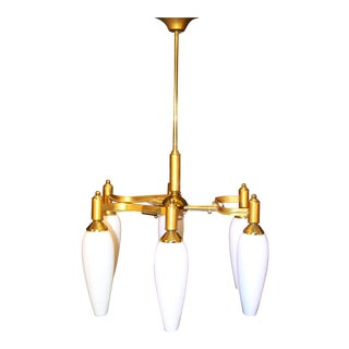 1960s Jacques Adnet Brass Chandelier with Original Glass Opaline For Sale