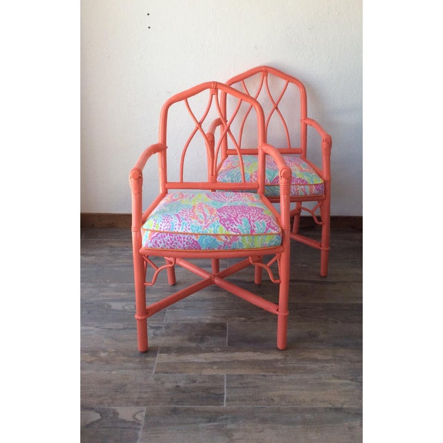 """Vintage Ficks Reed rattan side chair from the 1960's. These chairs are newly reupholstered in Lilly Pulitzer """"Let's Cha..."""