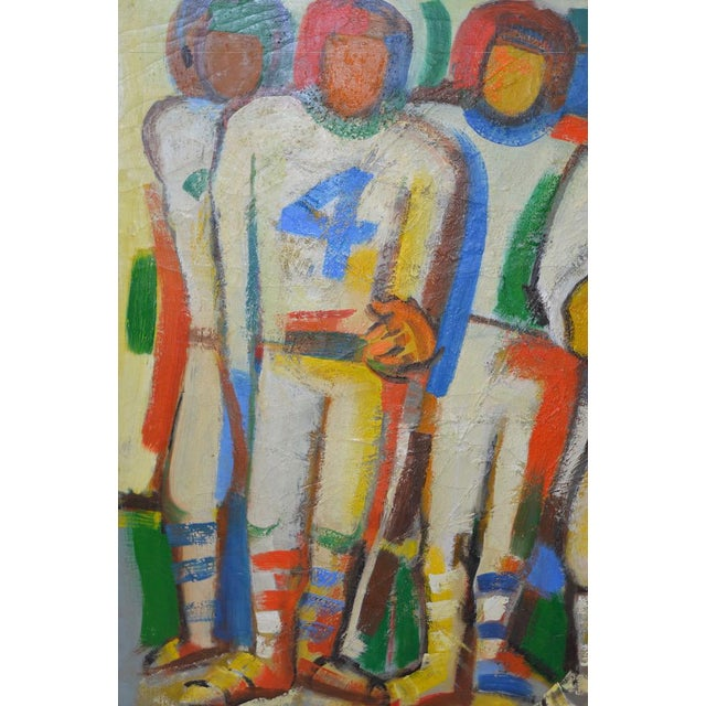 "Canvas Monumental Mid Modern ""Football"" Painting by J. Beall c.1960 For Sale - Image 7 of 10"