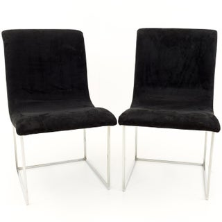Mid Century Modern Milo Baughman for Directional Black Velvet Chrome Base Lounge Chairs - a Pair Preview