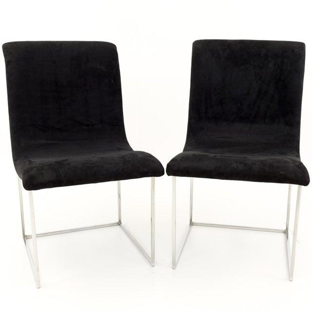 Milo Baughman for Directional Mid Century Black Velvet Chrome Base Lounge Chairs - a Pair