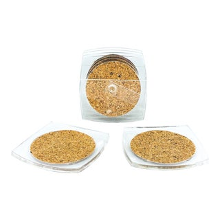 Square Lucite and Cork Coasters With Caddy - Set of 6 For Sale