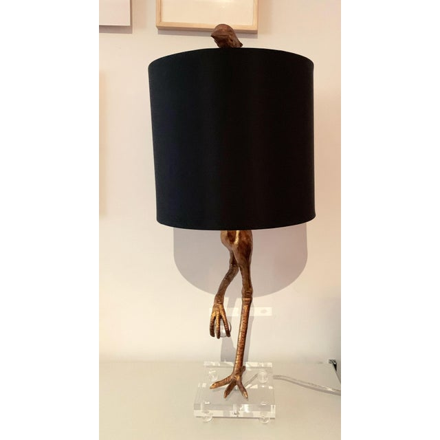 Aged Gold Bird Lamp With Black Shade For Sale In New York - Image 6 of 11