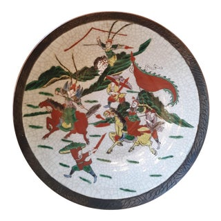 Antique Large Chinese Warriors Crackle Glaze Platter For Sale