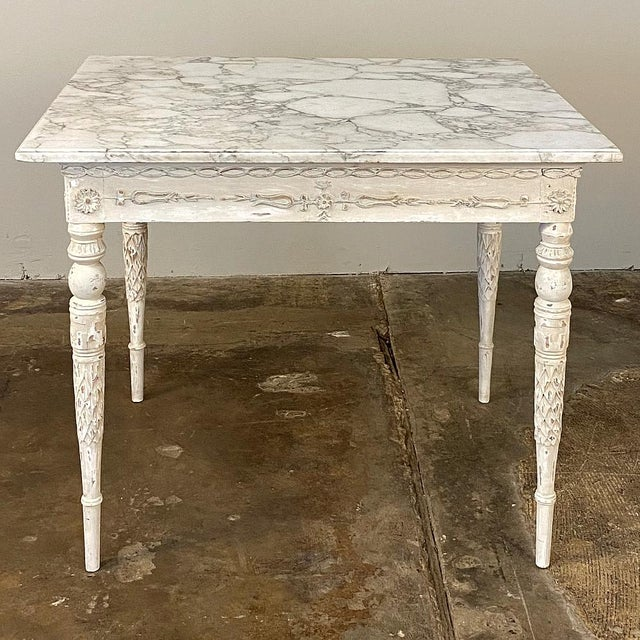 Center/End Table, 18th Century Swedish Painted With Marble Top For Sale - Image 4 of 12