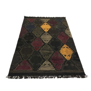 Rug & Relic Yeni Kilim in Black and Deep Reds | 4 X 5'9 For Sale