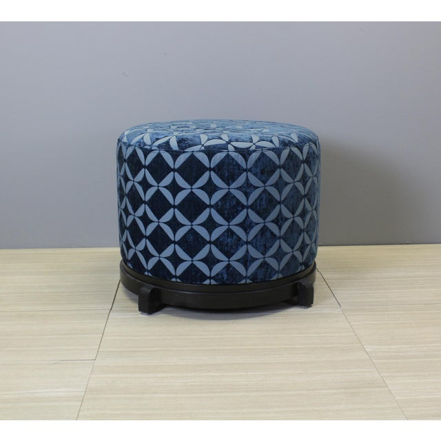 Vintage Blue Upholstered Round Ottomans - A Pair - Image 3 of 5