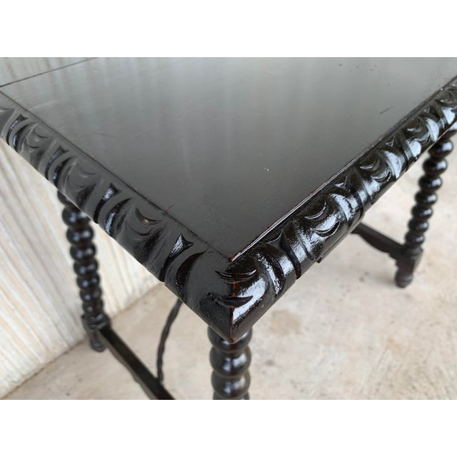 19th Spanish Baroque Side Table With Iron Stretcher and Carved Top in Walnut For Sale - Image 10 of 12
