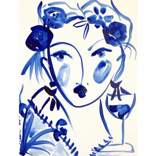 Flowers and Wine in Indigo by Leslie Weaver For Sale