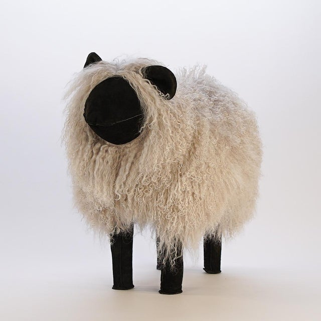 Boho Chic Light Grey Tibetan Lamb Sheep For Sale - Image 3 of 4