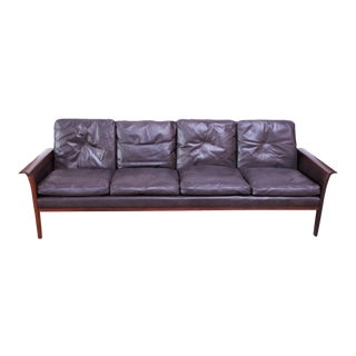 Leather and Rosewood Sofa Designed by Knut Sæter and Hans Olsen for Vatne Møbler For Sale