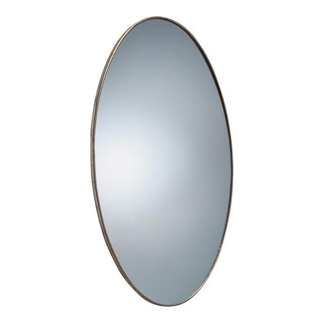 Oval Brass Italian Wall Mirror, 1950s For Sale