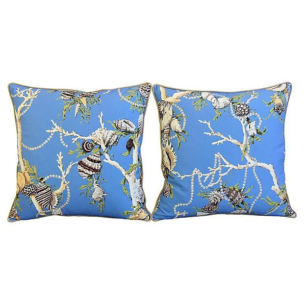 """Designer Nautical Blue Coral & Shells Feather/Down Pillows 26"""" Square - Pair For Sale - Image 9 of 12"""