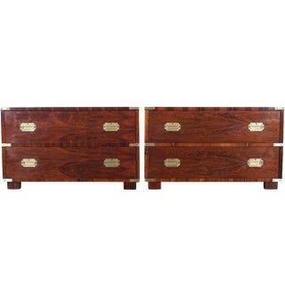 Rosewood Campaign Style Chest of Drawers by John Stuart For Sale