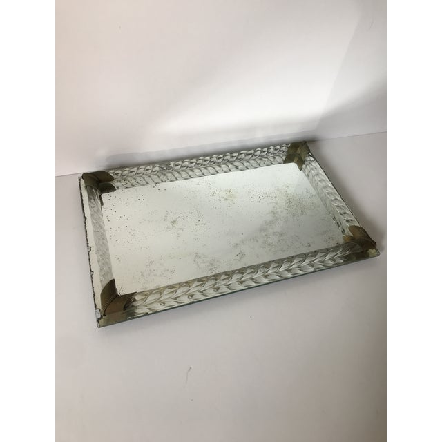 Antique Brass and Italian Murano Glass Rope Tray. Mirror has lovely antique patina. Can be used as a vanity tray or many...