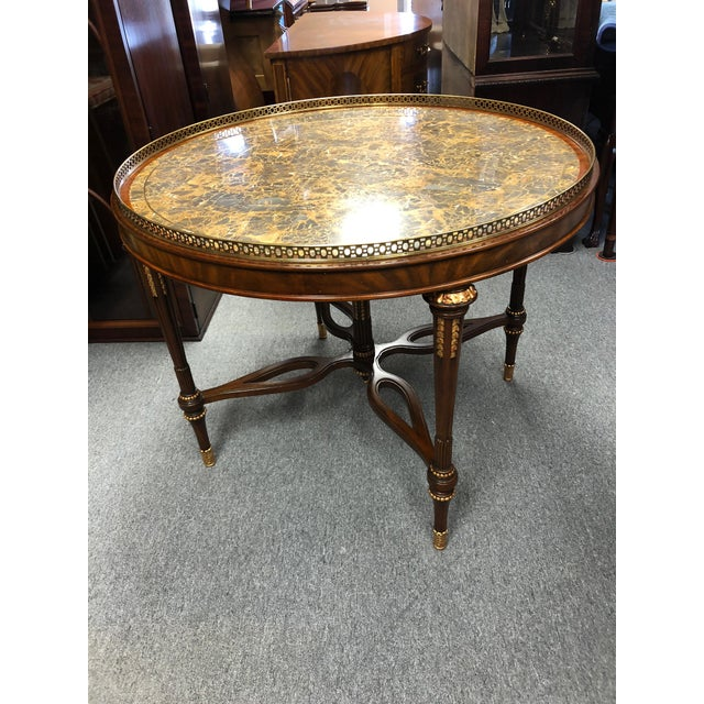 1990s Traditional Maitland Smith Round Faux Stone Center or Side Table For Sale - Image 10 of 13
