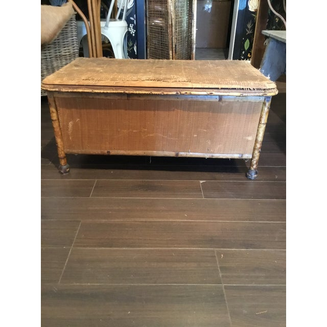 20th Century Asian Antique Scorched Bamboo Trunk For Sale - Image 4 of 13