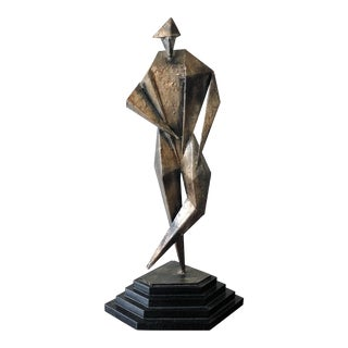 Mid Century Brutalist Cubist Jester Patinated Metal Sculpture Unsigned For Sale