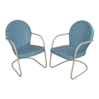 Art Deco Style 1940's Vintage Pair Metal Patio Lawn Chairs For Sale