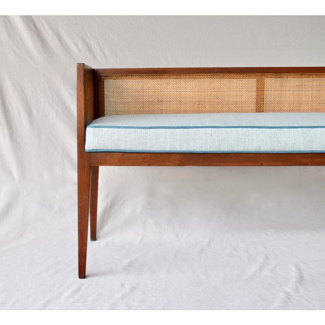 1950s Walnut Window Bench Attributed to Edward Wormley for Dunbar For Sale - Image 10 of 13