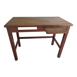 Vintage Mid-Century Rustic Oak School Desk For Sale