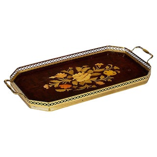 Italian Floral Inlaid Rectangular Tray For Sale