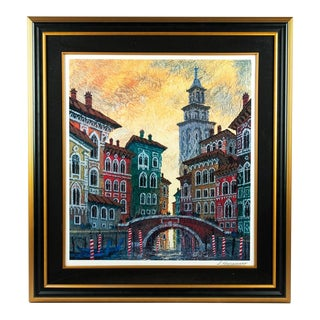 Cityscape Wood Framed Watercolor Painting For Sale