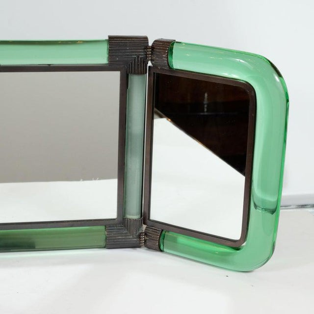 Fontana Arte Italian Mid-Century Emerald Glass, Bronze and Glass Illuminated Vanity Mirror For Sale - Image 4 of 10