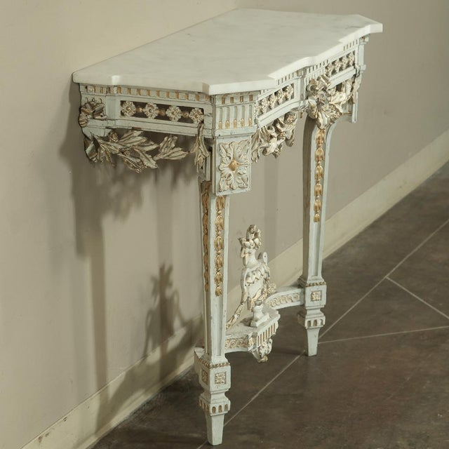 Late 19th Century 19th Century Swedish Neoclassical Marble-Top Painted Console For Sale - Image 5 of 12