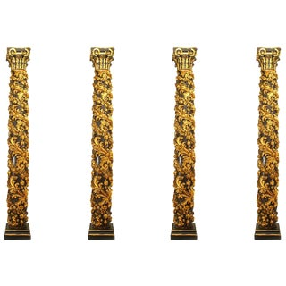 Italian Rococo Gilt Carved Columns - Set of 4 For Sale