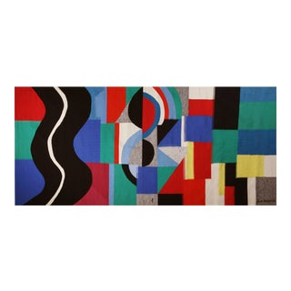 Monumental Modern Tapestry Designed and Signed by Sonia Delaunay - Serpent Noir For Sale