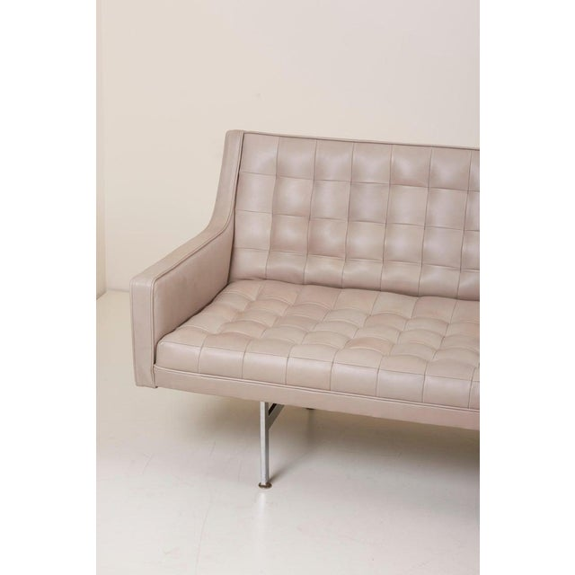 Metal Tufted Sofa in Grey Leather by Milo Baughman for Thayer Coggin For Sale - Image 7 of 13