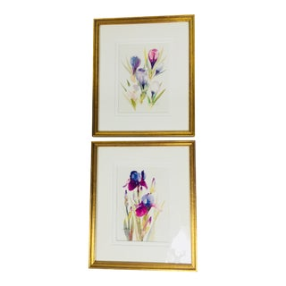 1980s Traditional Botanical Watercolor Paintings – a Pair For Sale