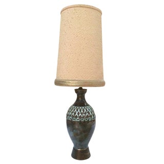 """Monumental 48"""" Mid Century Modern Pottery Lamp With Drum Lampshade - All Original For Sale"""