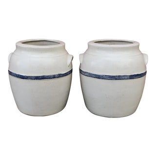 White With Blue Stripe Glazed Studio Pottery Jars - a Pair For Sale