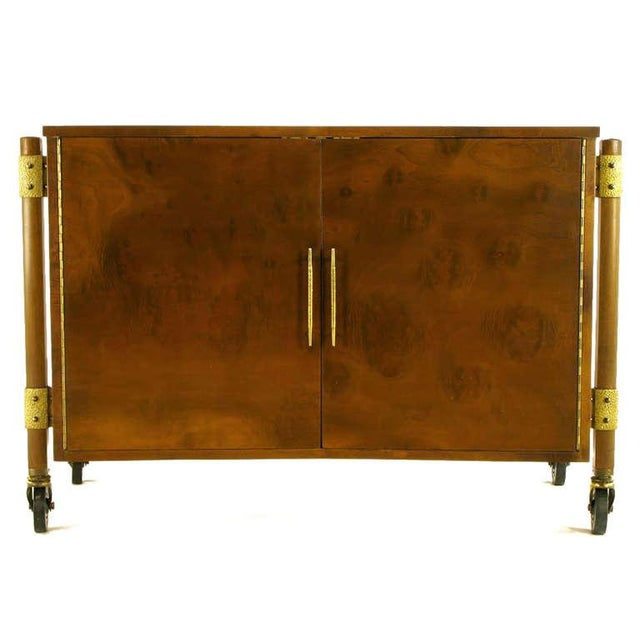 Harold M. Schwatrz for Romweber burled walnut clad bar cart. Distinctive bow tie shape, external legs with hammered brass...