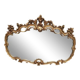 1970s Hollywood Regency Ornate Gold Gilt Mirror For Sale