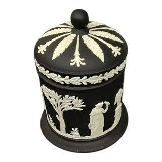Vintage Wedgwood Neoclassical Black Jasper Ware Maiden Cherub Cigarette Tobacco Jar Box For Sale