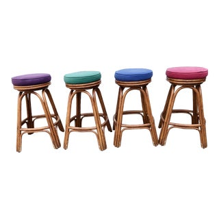 1960s Vintage Rattan Bar Stools-Set Of 4 For Sale