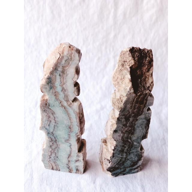 Figurative 1900s Figurative Solid Stone Primative Figurines - a Pair For Sale - Image 3 of 7