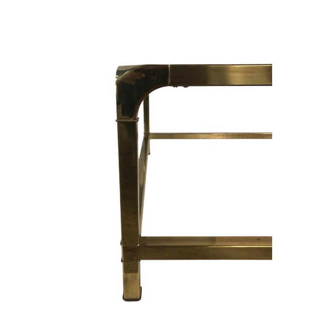 Modern 1960s Modern Mastercraft Brass Coffee Table With Glass Top For Sale - Image 3 of 6