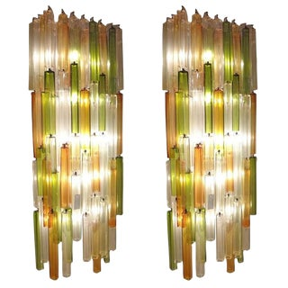 Salviati for Venini Pair of Massive Scaled Lit Chandelier Wall Sconces Italy Circa 1965 For Sale
