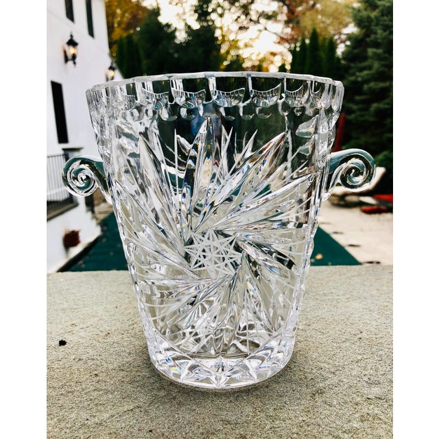 Antique American Brilliant Cut Glass Ice or Wine Bucket For Sale - Image 9 of 9