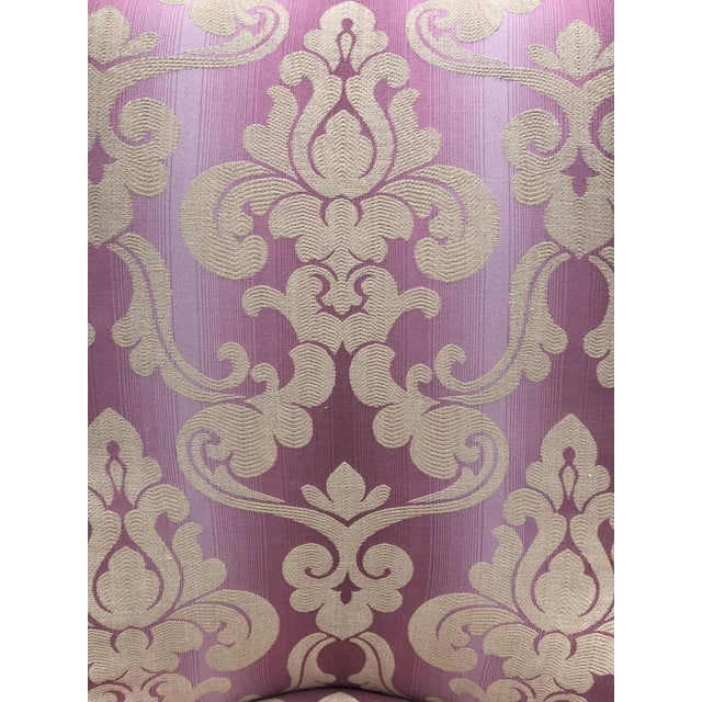 Textile 1940s Vintage Lee Jofa Host Dining Chairs Pink Ombre Damask - a Pair For Sale - Image 7 of 12