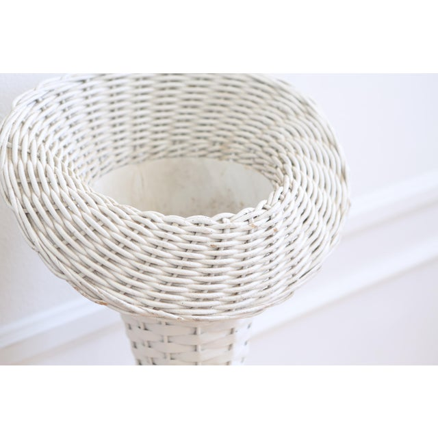 Boho Chic Vintage White Wicker Basket Planter Stands - A Pair For Sale - Image 3 of 8