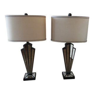 Art Deco Style Mirrored Lamps With Oval Shades - a Pair For Sale