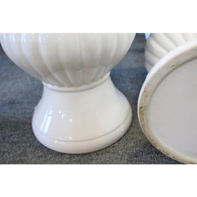 Late 20th Century Neoclassical Style White Urns - a Pair For Sale - Image 5 of 6